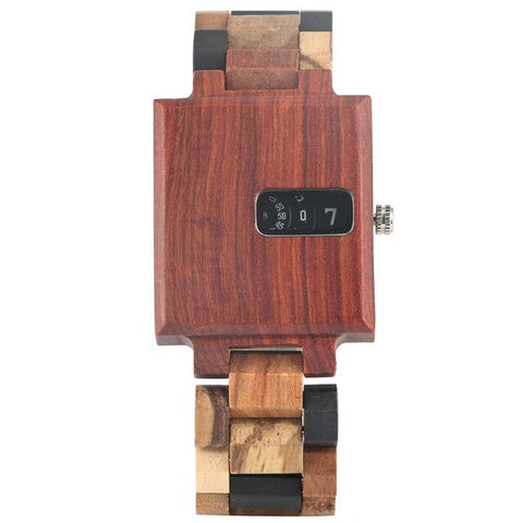 Hand Crafted Creative Square Wood Watch in Ebony Wood in Various Artistic Styles