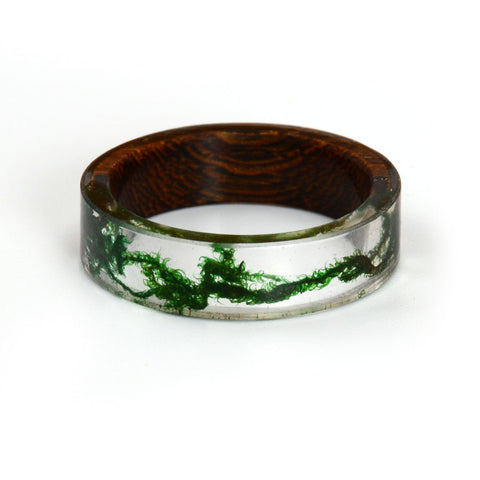 New Fashion Rings for Women Men Wood Resin Landscape Ring Transparent Male Natural Scenery Epoxy Resin Rings Female Finger Punk