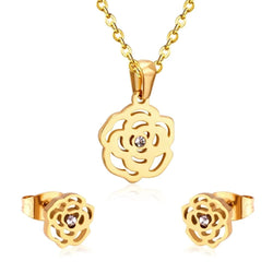 Cubic Zirconia Jewelry Sets Stainless Steel Gold/Silver Color Pendant Necklace Women/Girl Bridal Jewelry Sets