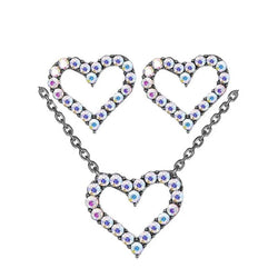 Cubic Zirconia Geometric Heart Pendant  Necklace Crystal Circle Stud Earrings