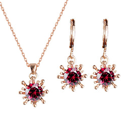 QCOOLJLY Women bridal Wedding Jewelry Set Charm Crystal Water Drop Pendant Necklaces Earrings Sets Shininy Cubic Zircon bijoux