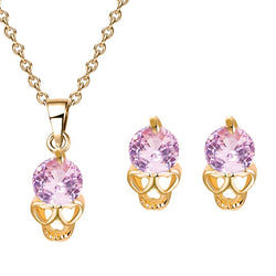 MISANANRYNE Gold Color Clear Cute Flower Cubic Zirconia Pendant Necklace Earrings Charming Jewelry Sets For Women