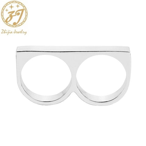 zhijia two finger rings man metal hard ring for party 2 fingers Ring Rebellious Ring revolt personality Jewelry creative rings