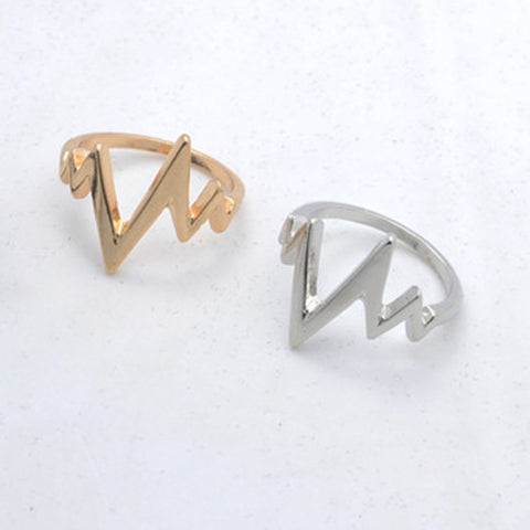 Heart Beat Curve Ring Beautiful Gifts for Men and Women Two Colours are Optional Size 6-10