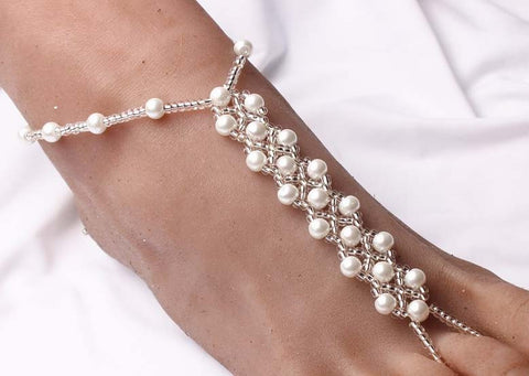1 pair Pearl Beads Barefoot Sandals High Quality  Elastic Beaded Anklets  Foot Jewelry For Beach Wedding Gift Homewear Yoga - onlinejewelleryshopaus
