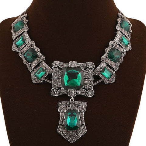 Luxury Brand Turkish Jewelry Fashion Emerald Green Crystal Vintage Necklace African Beads Jewellery Christmas Best Man Neclaces - onlinejewelleryshopaus