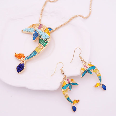 2016 Summer Enamel Dolphin Jewelry Sets For Women Gold Plated Animal Dolphin Necklace Earring Set Unique Ethnic Sea Jewelry - onlinejewelleryshopaus