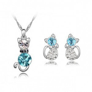 Fast Shipping Retail Romantic Engagement Silver Plated Cute Cat Jewelry Sets Necklace Earrings with Austrian Crystal For Women - onlinejewelleryshopaus
