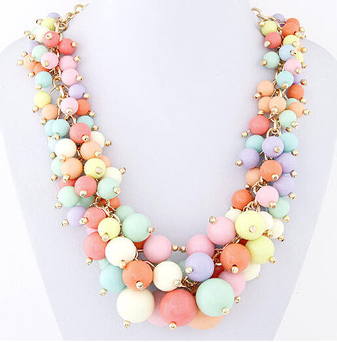 2016 Factory Price New Brand Hot Wholesale Bead Statement Necklace Fashion 5 Color Choke Necklace Pendant Women Necklaces SF25 - onlinejewelleryshopaus