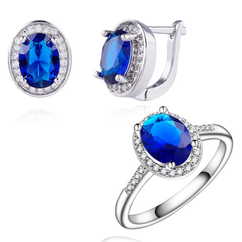 Yunkingdom trendy Jewelry Sets for women white Gold Plated Wedding Earrings Blue zircon crystal Rings Set LPG6 - onlinejewelleryshopaus
