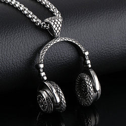 Hip hop jewelry men's stainless steel music headphone pendant necklaces vintage accessories fashion necklace for men jewellery - onlinejewelleryshopaus