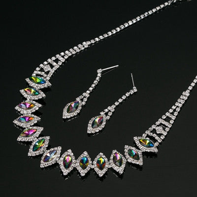 2016 New silvery Plated Multicolor  Austrian Crystal Chain  Necklace + Earrings Jewelry Sets Free shipping Women Jewellery N192 - onlinejewelleryshopaus