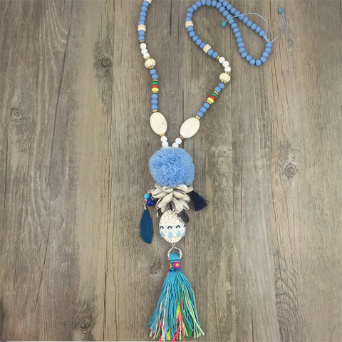 2016 luxury leather bohemia style jewelry thread tassel Summer Boho necklace bead tassel Turquoise pendant Necklaces - onlinejewelleryshopaus