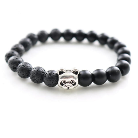 Women's Fashion Panda Strand Bracelets With Lava Black Agate Stone Buddha Beaded Bangles for Men Fashion Unisex Jewelry Gifts - onlinejewelleryshopaus