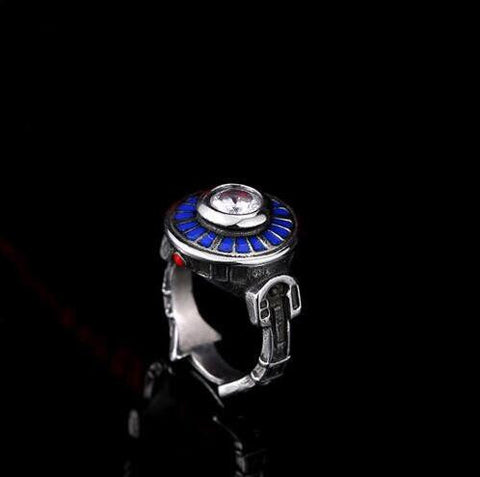2016 New Star Wars Fighter Ring,the Crystal Rhinestone Women/Men Ring Antique Silver with Blue Enamel Vintage Film Jewelry - onlinejewelleryshopaus