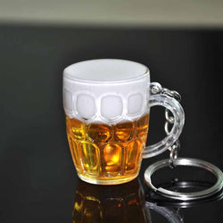 Hot 1 Pc Women Men Popular Resin Beer Cups Simulation Food Handicraft Key Chain Key Rings Christmas Gift - onlinejewelleryshopaus