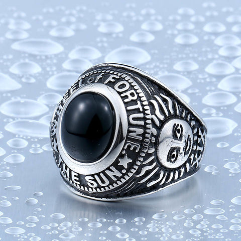 Stainless Steel Cool Unique Black Stone Ring Titanium Steel Wheel of Fortune Tarot  Obsidian Ring For Man BR8-335 - onlinejewelleryshopaus