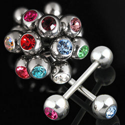 1Piece 1.6x16x6/6mm Free shipping Fashion Crystal tongue barbell ring tongue nail, Tongue Rings body jewelry piercing - onlinejewelleryshopaus