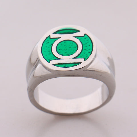2016 DC Comics Marvel Green Lantern Ring,the Superhero Green Enamel Silver Power Ring for Men Movie Jewelry - onlinejewelleryshopaus