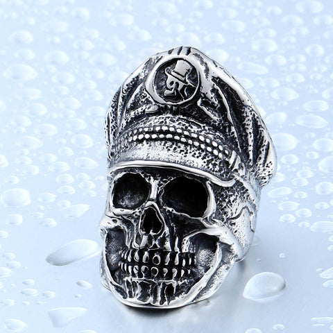Beier 316L Stainless Steel ring Cool Officer Dictator New Designed skull ring Fashion Jewelry BR8-349 - onlinejewelleryshopaus
