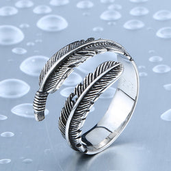BEIER New Designed Vintage Feather Ring 316L Stainless Steel Rerto Leave Ring For Man Woman Never Fade BR8-306 - onlinejewelleryshopaus
