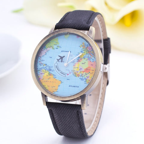2015 Denim Fabric Men Watches Women Quartz Watch  World Map Shows Unisex Wristwatch Relojes Mujer Relogio Feminino Clock - onlinejewelleryshopaus