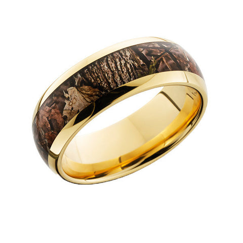 SHARDON Men's Gold Plated Titanium Brown Woodland Camo Wedding Ring with Polished Finishing Ring for Men 8mm - onlinejewelleryshopaus