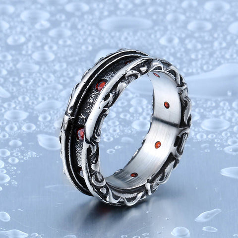 Beier New Designed Cool Retro Gothic Ring With Red Stone Stainless Steel High Quality Man's Jewelry Aliexpress Wholesale BR8-321 - onlinejewelleryshopaus