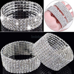 Hot Selling 4/5/8 Rows Crystal Rhinestone Bracelet Bangle Bling Wristband Women Wedding Bridal Bracelet Jewelry Free Ship - onlinejewelleryshopaus