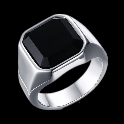 FIVETWOO Top Quality Fashion Punk Stainless Steel   Black Agate Men Rings - onlinejewelleryshopaus
