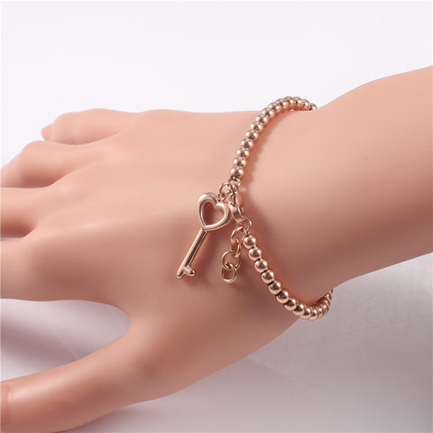 Trendy Rose Gold Plated Handmade Beads Key Charm Stainless Steel Bracelets For Women Cute Simple Jewelry Pulseras Chirstmas Gift - onlinejewelleryshopaus