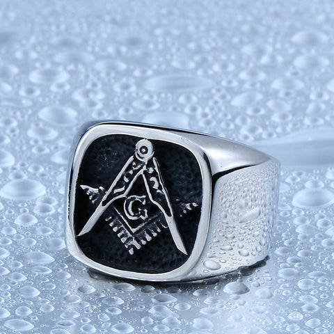 BEIER Master Masonic G Signet Ring For Man Stainless Steel Ring for Man and Boy Never Fade Gift for Man BR8-130C - onlinejewelleryshopaus