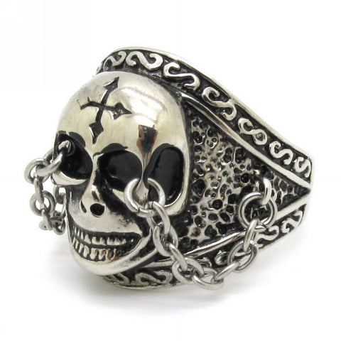 Cool Amazing Chain Locked Skull Cross Craved Men's 316L Stainless Steel Punk Finger Ring Jewelry Gift - onlinejewelleryshopaus