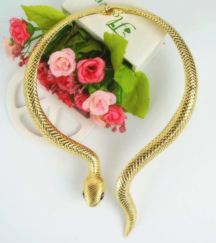 2016 arrival Sexy exaggerated golden snake necklace long party necklace colar jewelry collares for women - onlinejewelleryshopaus
