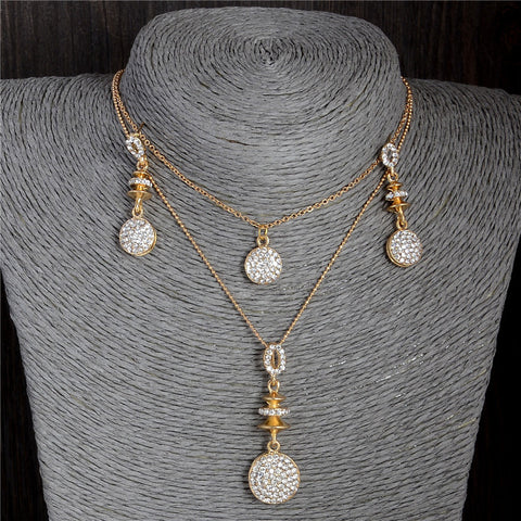 ZOSHI Hot sale Fashion Cubic Zirconia Pendant Chain Necklace and Earrings Gold Plated Jewelry Sets For Women Wedding Bridal gift - onlinejewelleryshopaus