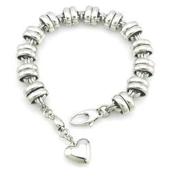 High Polished 316L Stainless Steel Heart Charm Bracelet for Women or Men New Fashoin Jewellery,Wholesale,free shipping BB008 - onlinejewelleryshopaus
