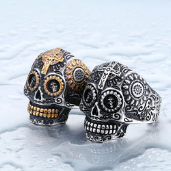 Steel soldier men stainless steel Hip-hop skull ring titanium steel men retro jewelry men punk jewelry - onlinejewelleryshopaus