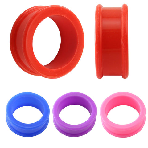 1 pair 3-26mm Earlets Body Jewellery Flexible Silicone Flexible Skin Ear Tunnels And Plugs Hollow Flesh Piercing Earring - onlinejewelleryshopaus