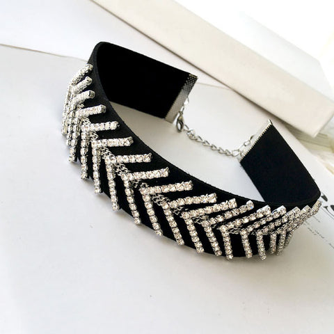 Plain Black Velvet Choker Necklace Gothic Vintage Wide Ribbon rhinestone crystal design Neckless Collar Jewelry For Women 2016 - onlinejewelleryshopaus