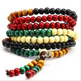 BR154 6MM Buddhism Bohemian vintage Ebony WOOD Beads Elastic Bracelet fashion Jewelry for women - onlinejewelleryshopaus