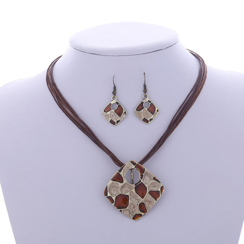 ZOSHI 2016 Factory price Jewelry sets Wholesale Leather Rope Chain Chain Pendant necklace Drop Earrings set Fashion jewelry set - onlinejewelleryshopaus