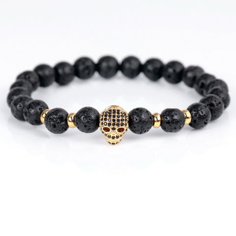 8mm New Fashion Retro Strand Lava Stone Beads Bracelets High Quality Classic Mini CZ Skull Charm Bracelets For Men Women - onlinejewelleryshopaus