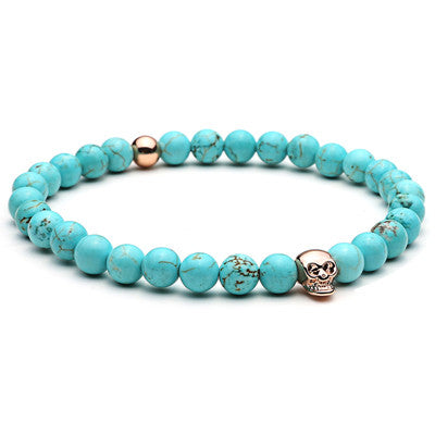 18-21cm Skull Charms Nature Turquoise Beads Bracelet Pulseiras Charm Bracelets & Bangles for Women Men Jewelry Antique Bangle - onlinejewelleryshopaus