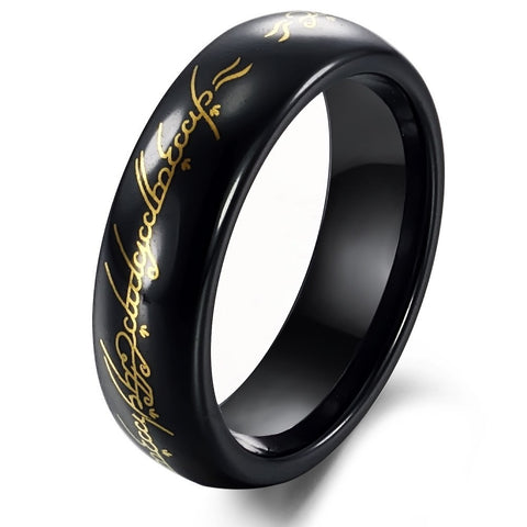 Tungsten Black & Gold Lord of Ring Mens Ring Size 6 - 10 - onlinejewelleryshopaus