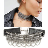 High Quality Choker ZA Necklace Round Beads Exo Metal Pendant Leather Chain Statement Collar Necklace Jewelry Wholesale NK23 - onlinejewelleryshopaus