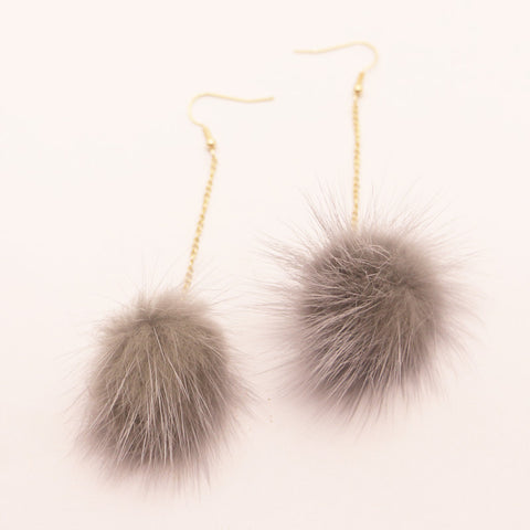 2016 Fashion New White/Grey Real Mink Fur Ball Dangle Earrings Pom Pom Drop Earrings for Women Brincos Christmas Gift for Girls - onlinejewelleryshopaus