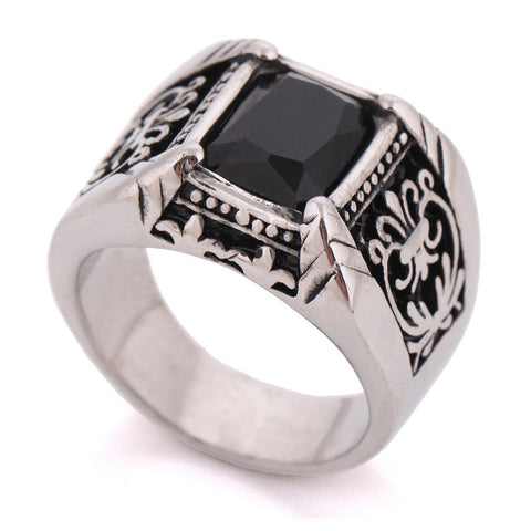 New 316L Stainless Steel Antique Bohemia Ring Black Glass Crystal Jewelry Fashion Men Rings - onlinejewelleryshopaus