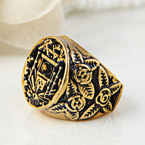 RN3276 Antique Gold Freemason Ring Stainless Steel Evil Eye Masonic Men Rings - onlinejewelleryshopaus