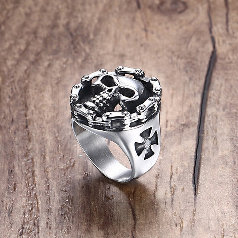 Men's Stainless Steel Rings Riders on the Storm Big Bold & Heavy Motorcycle Chain Skull Ring Silver Black Tone Jewelry - onlinejewelleryshopaus