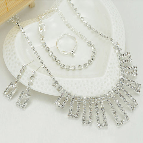 ZOSHI Crystal Bridal Jewelry Sets Choker Necklace Earrings Bracelet Ring African Beads Jewelry Set Wedding Jewelry Wholesale - onlinejewelleryshopaus